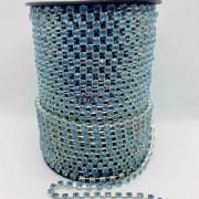 Atacado - Corrente De Strass - SS16 - Corrente Prata C/ Cristal Azul Bebe - 50 Metros