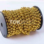 Atacado - Pérola Em Rolo 8mm Dourado - Rolo Fechado - 16,5 m
