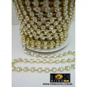 Corrente De Strass - SS28 - Dourado - Crystal - 1 Metro