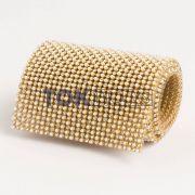 Manta Strass SS10 - Perola C/ Strass Dourado - 10cm X 45cm