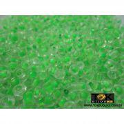 Missangão Transparente C/ Verde 6/0 - 50g
