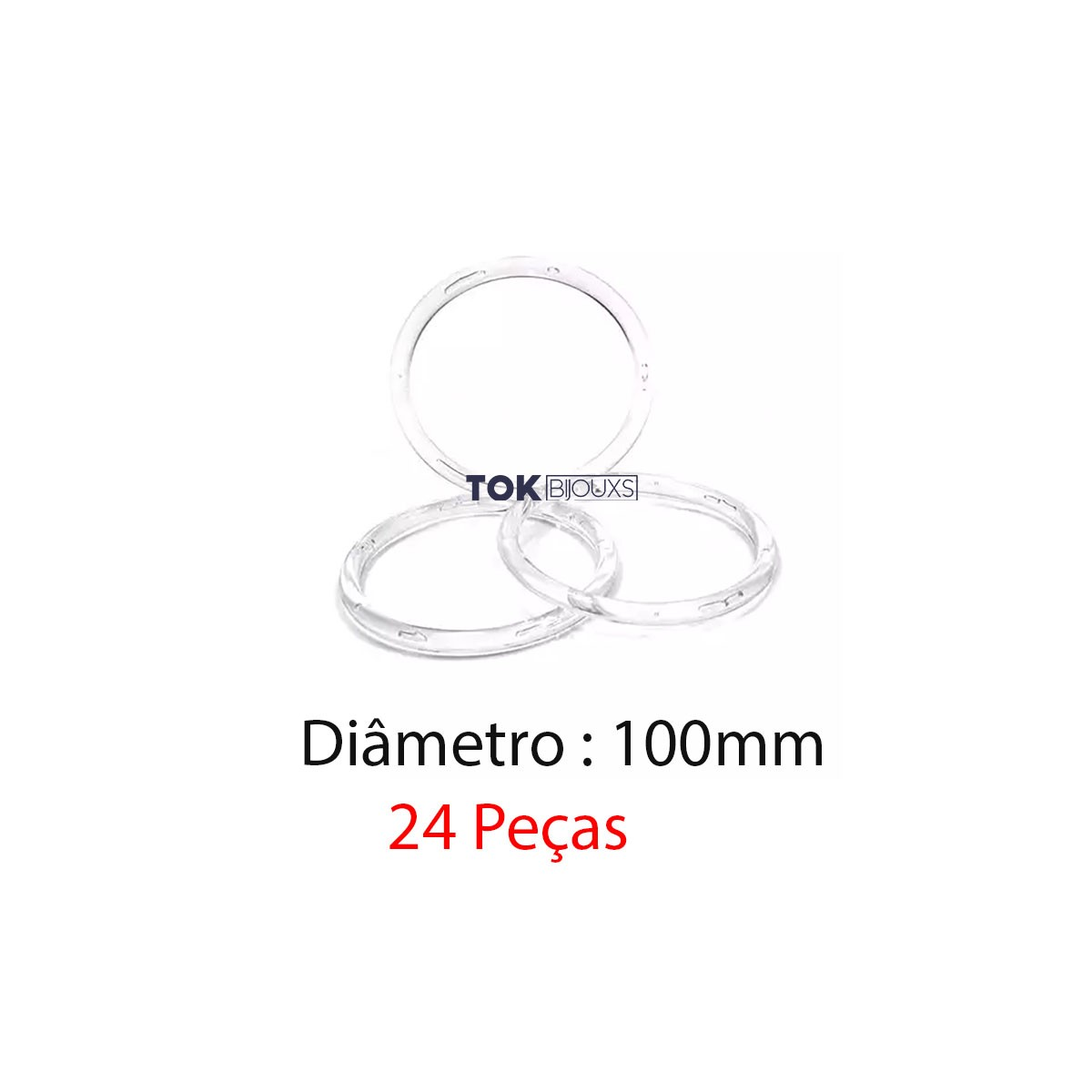 Argola de Plástico - Transparente - 100mm - 24 Peças