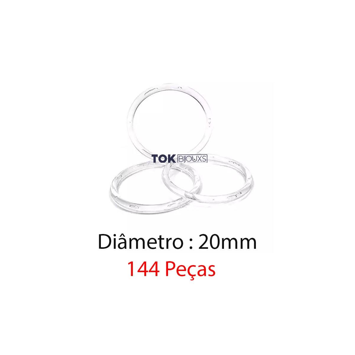 Argola de Plástico - Transparente - 20mm - 144 Peças