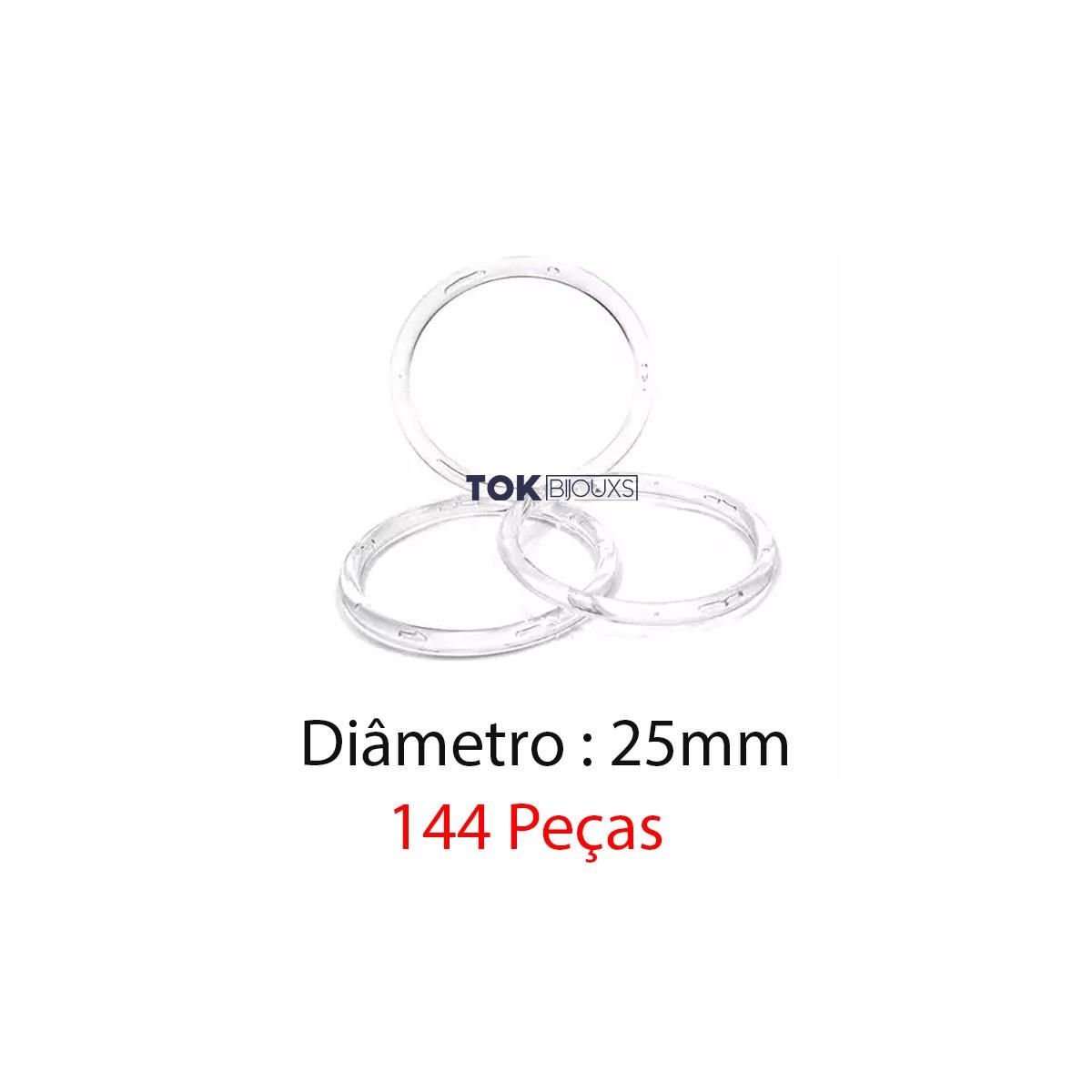 Argola de Plástico - Transparente - 25mm - 144 Peças