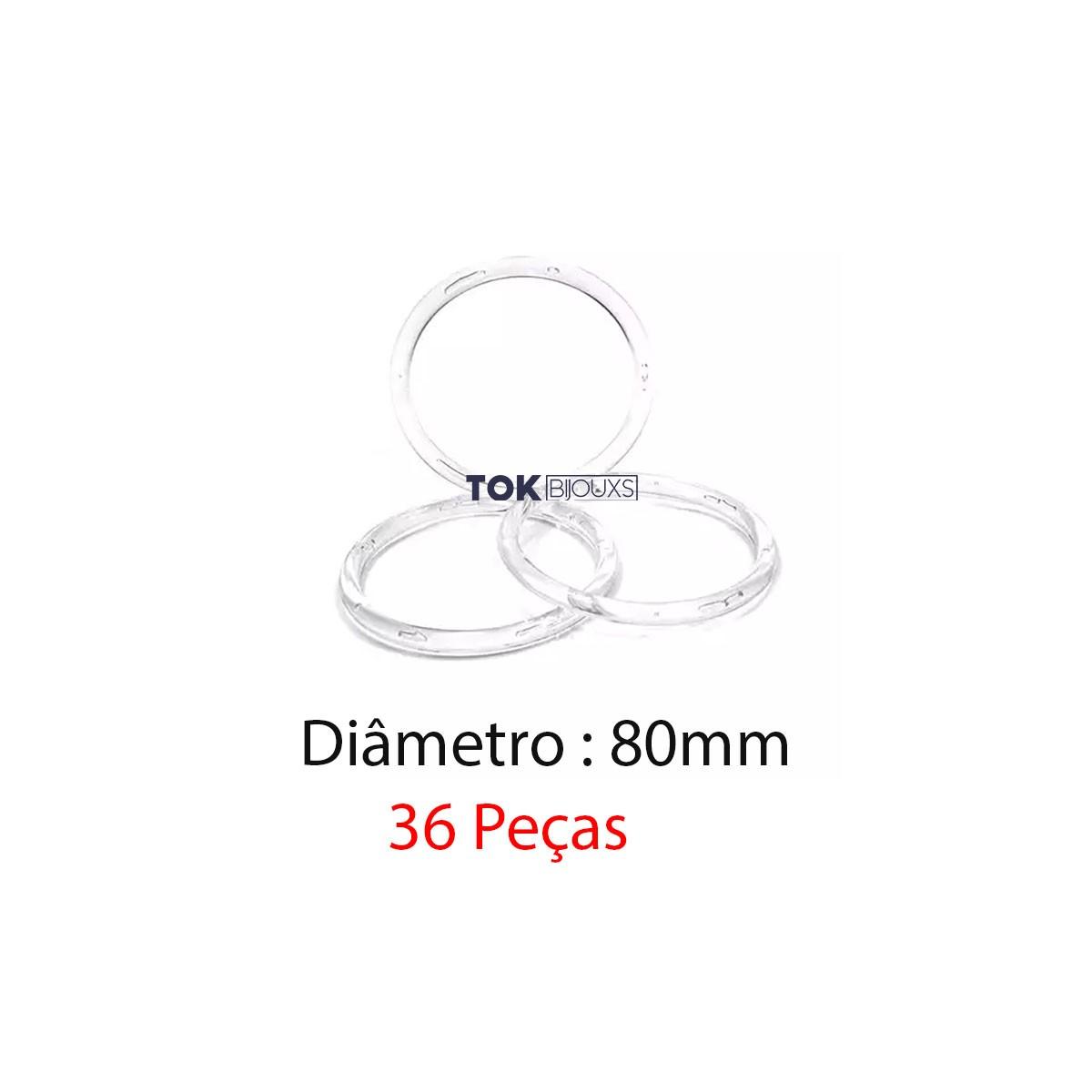 Argola de Plástico - Transparente - 80mm - 36 Peças