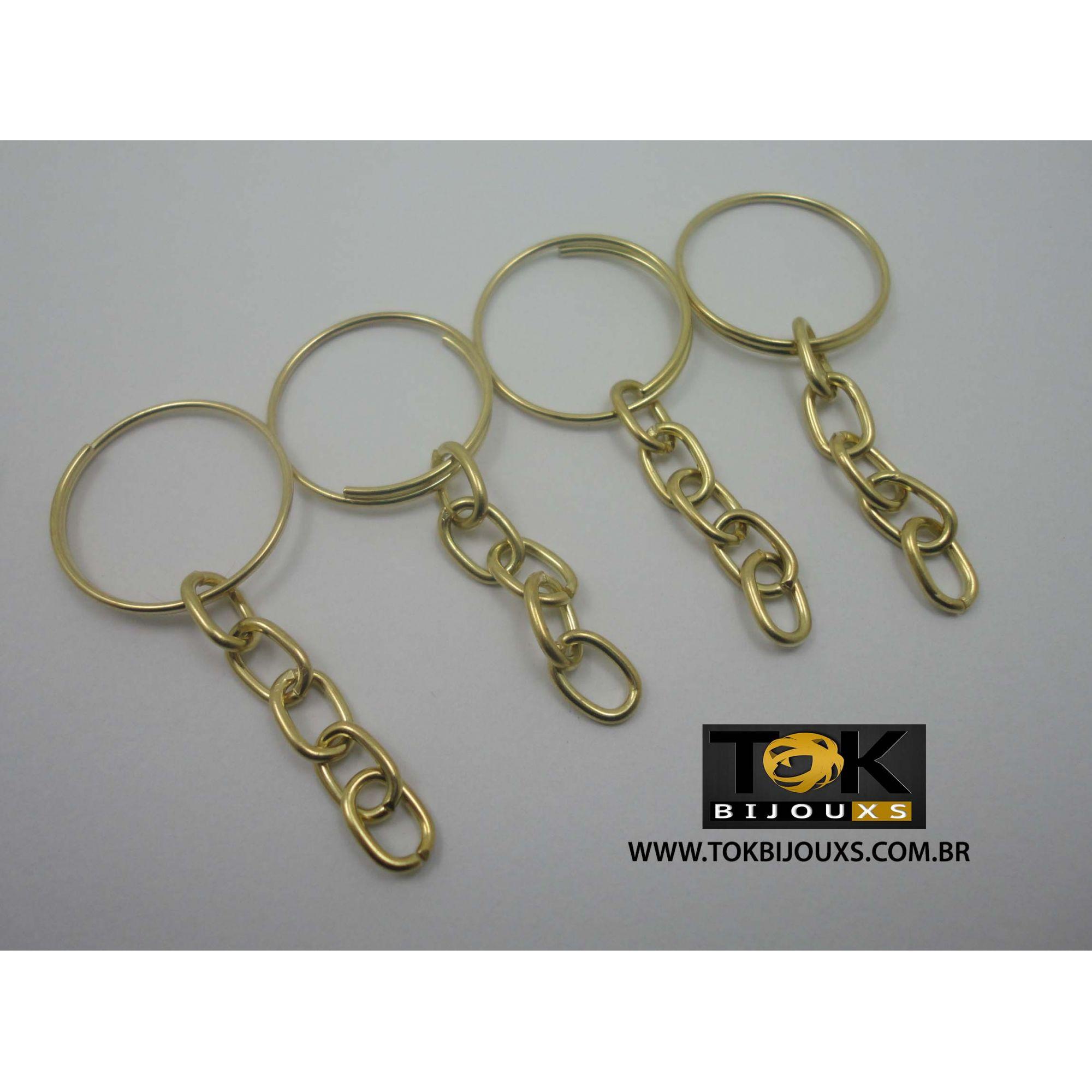 Argola Para Chaveiro - Dourada 21mm C/ Corrente - Pacote 25 Un