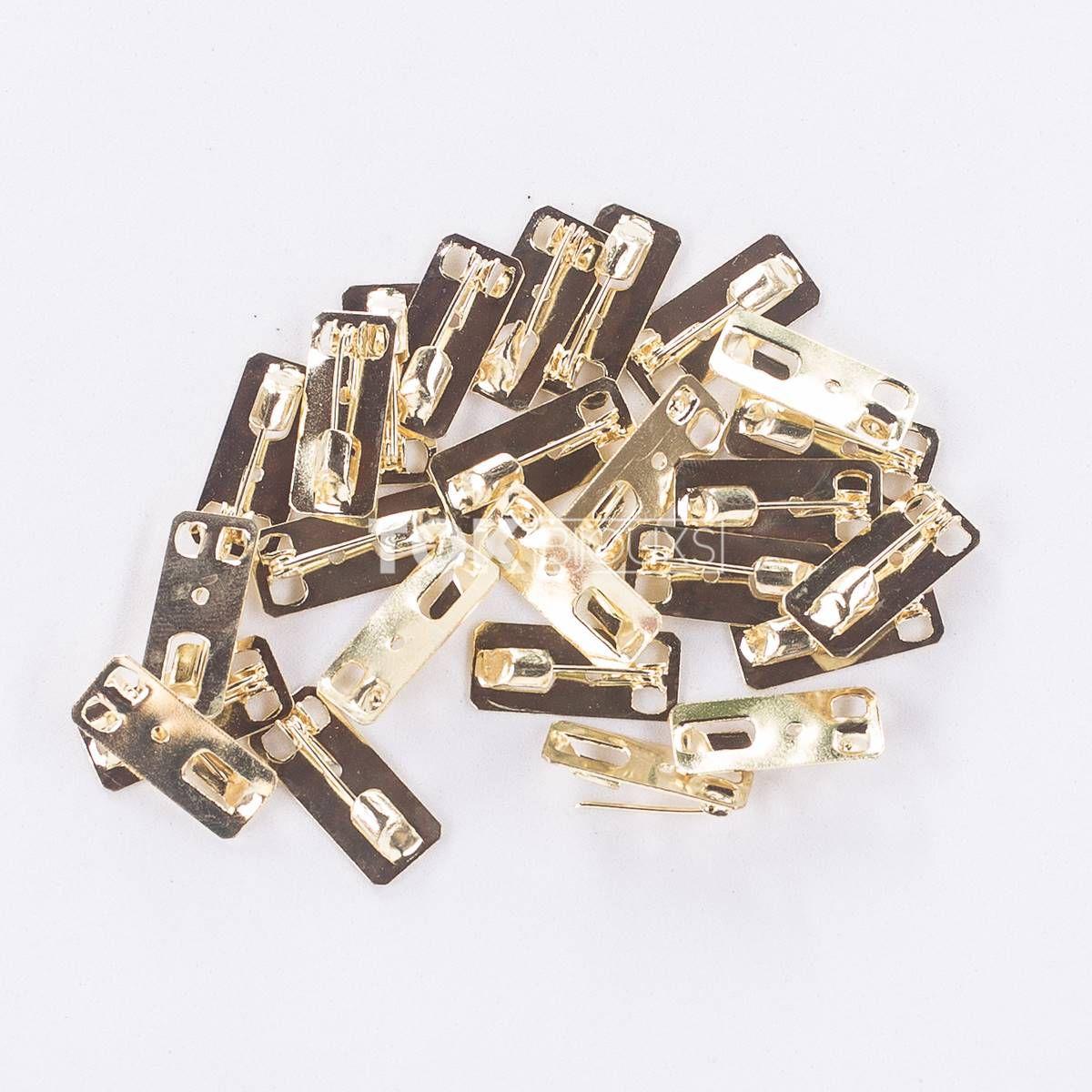 Atacado - Base De Broche Retangular - Dourado 10X23mm - 500un