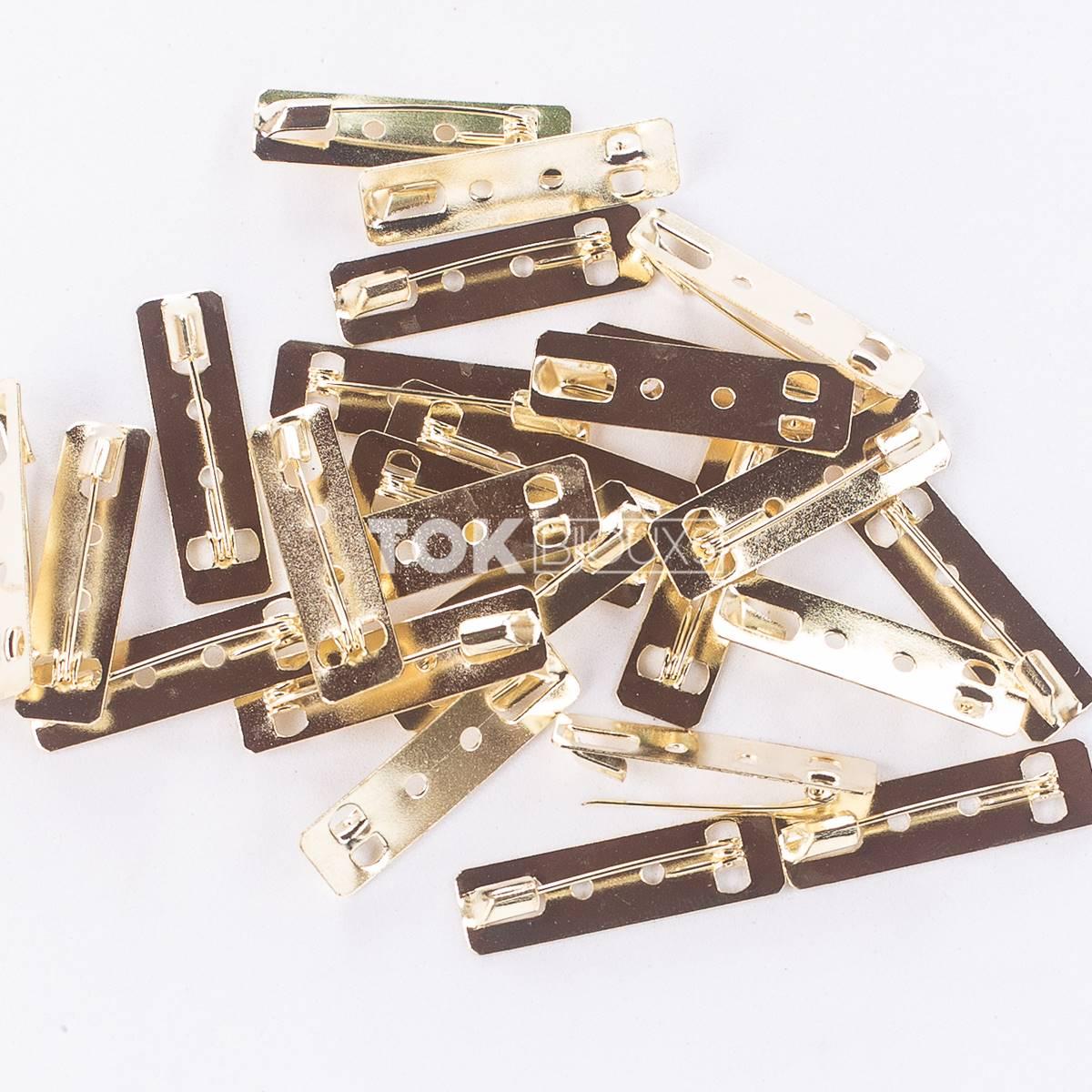 Atacado - Base De Broche Retangular - Dourado - 10X36mm - 500 Unid