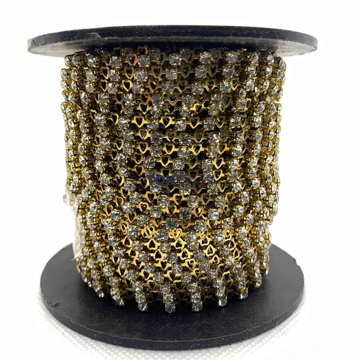 Atacado -  Corrente De Strass SS12 - Corrente Coração Dourado c/ Pedra Cristal - 30m