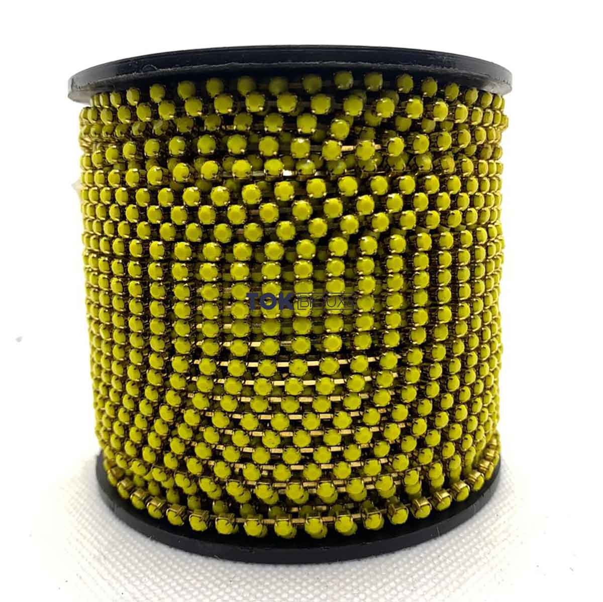 Atacado -  Corrente De Strass  SS12 - Corrente Dourado C/ Cristal Amarelo Leitoso - 50m
