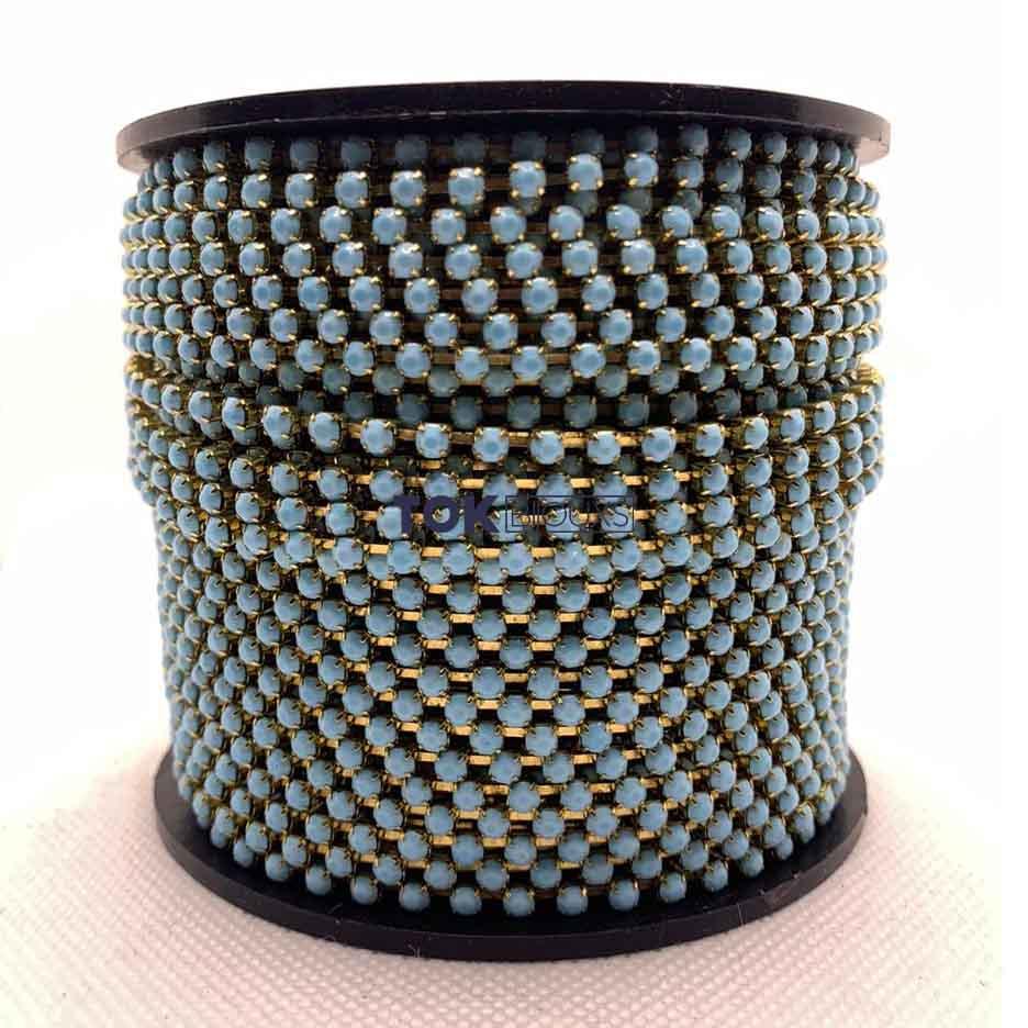 Atacado -  Corrente De Strass  SS12 - Corrente Dourado C/ Cristal Azul Bebe Leitoso - 50m