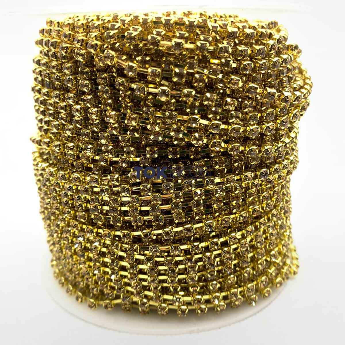 Atacado -  Corrente De Strass SS12 - Corrente Dourado C/ Cristal Mel - 50m