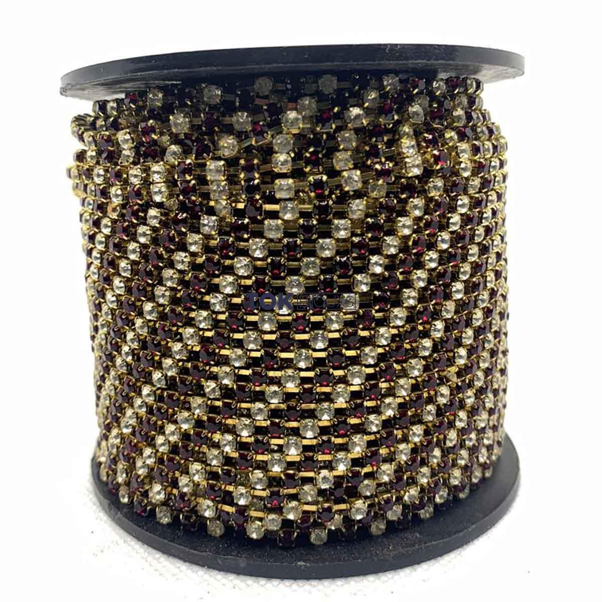Atacado -  Corrente De Strass  SS12 - Corrente Dourado C/ Pedra Cristal e Vermelho - 50m
