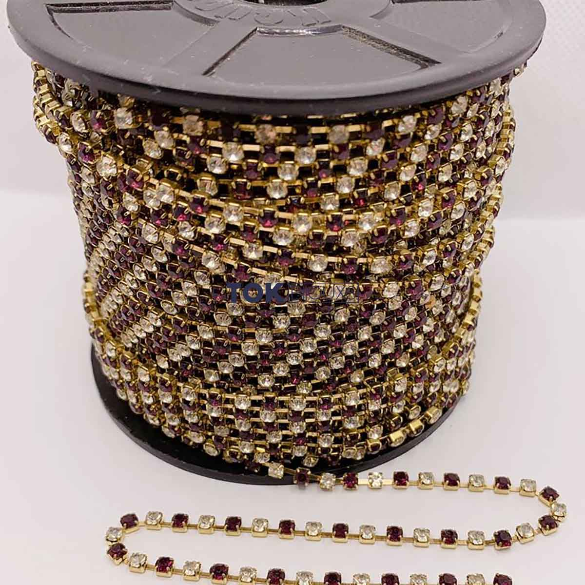 Atacado - Corrente De Strass SS12 - Corrente Dourado C/ Pedra Cristal Uva - 50m