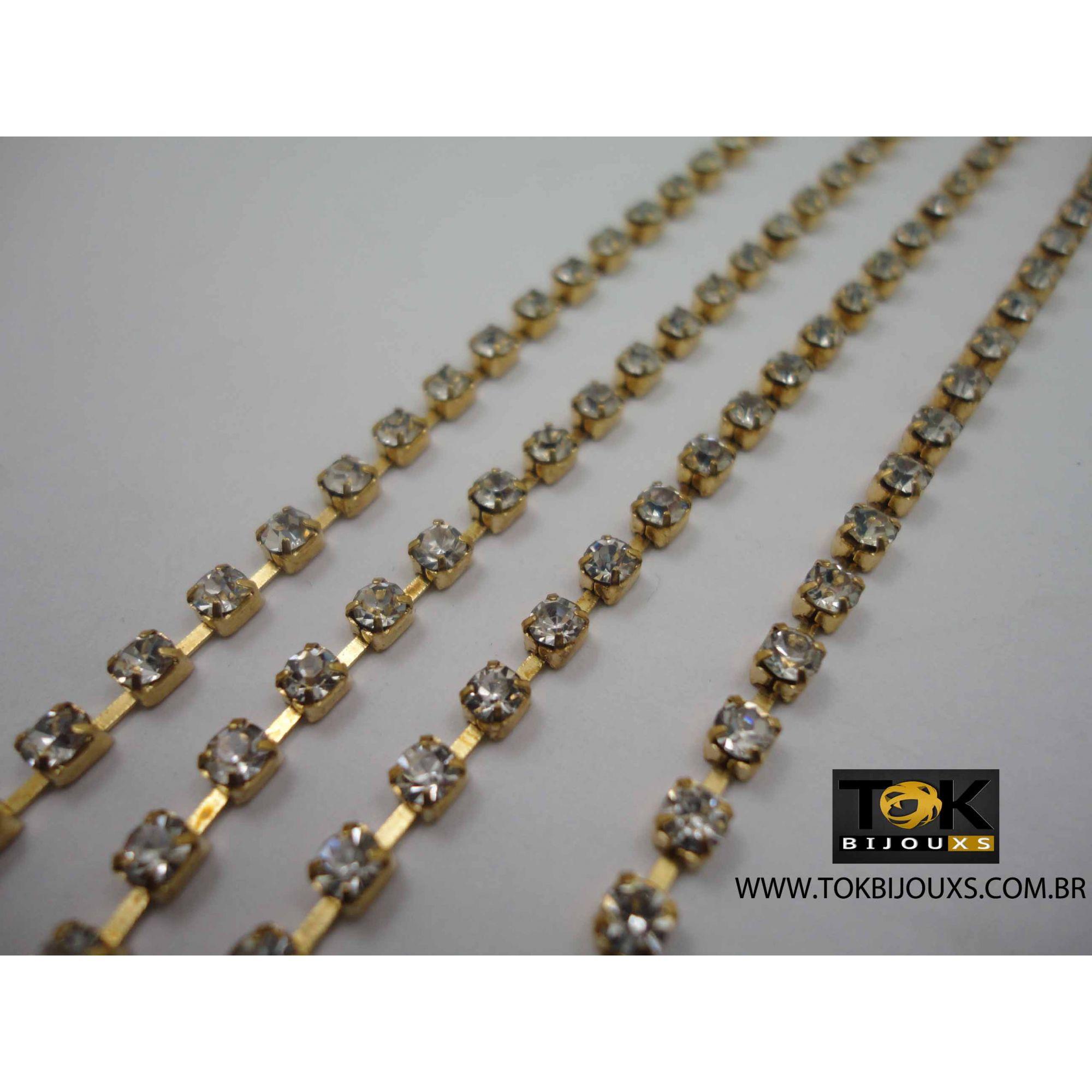 Atacado - Corrente De Strass - SS12 - Dourado - Crystal - Rolo Fechado