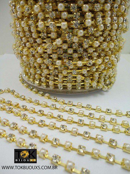 Atacado - Corrente Strass C/ Pérolas SS16 - Dourado Crystal E Pérola Abs - SS16 - Rolo Fechado