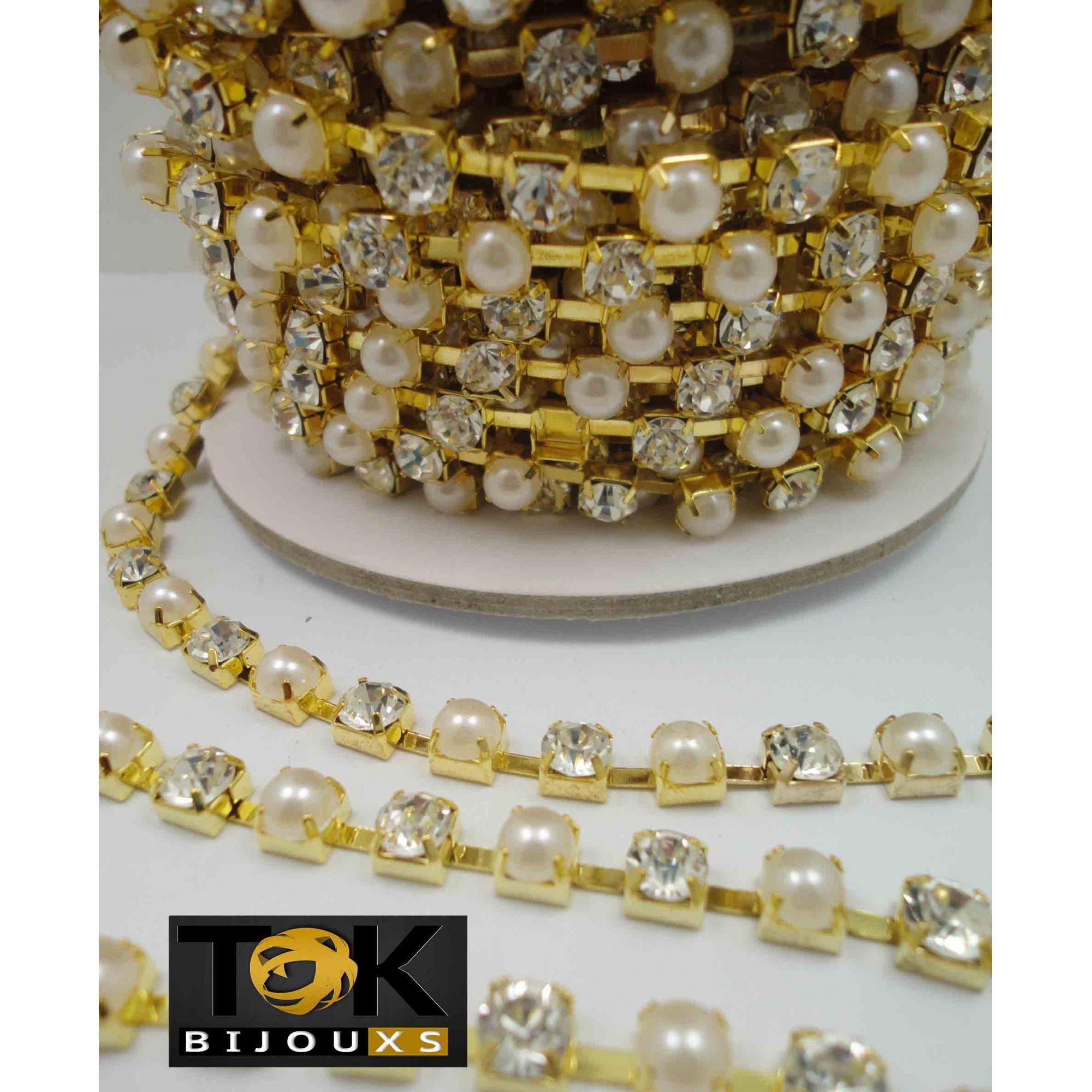 Atacado - Corrente Strass C/ Pérolas SS28 - Dourado Crystal E Pérola Abs - SS28 - Rolo Fechado