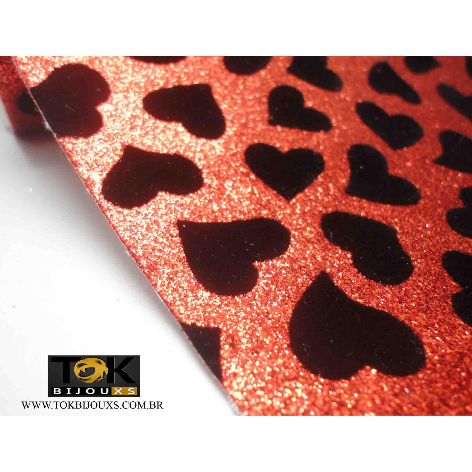 Atacado - Lonita Coração Glitter Vermelho - 140X50cm