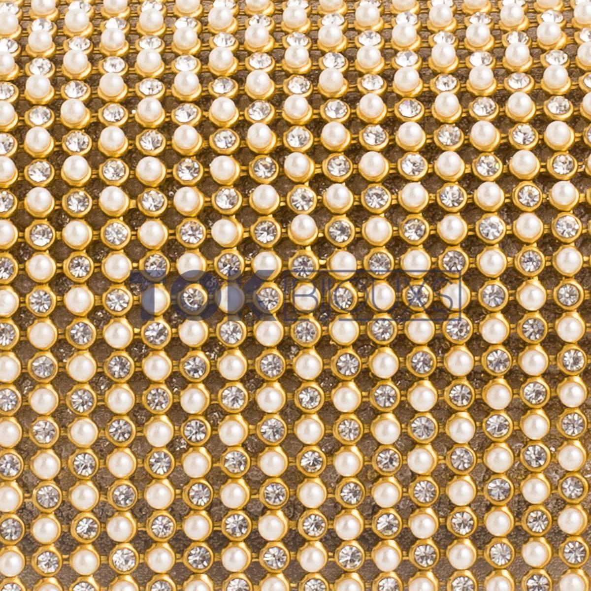 Manta Strass SS10 - Perola c/ Strass Dourado - 120cm X 45cm