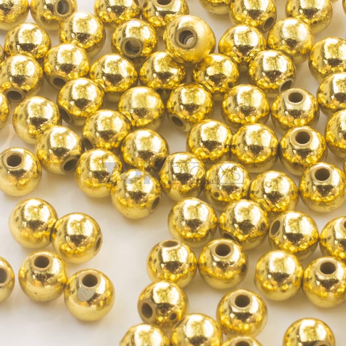 Atacado - Pérola Redonda Abs 10mm - Dourada - 500g