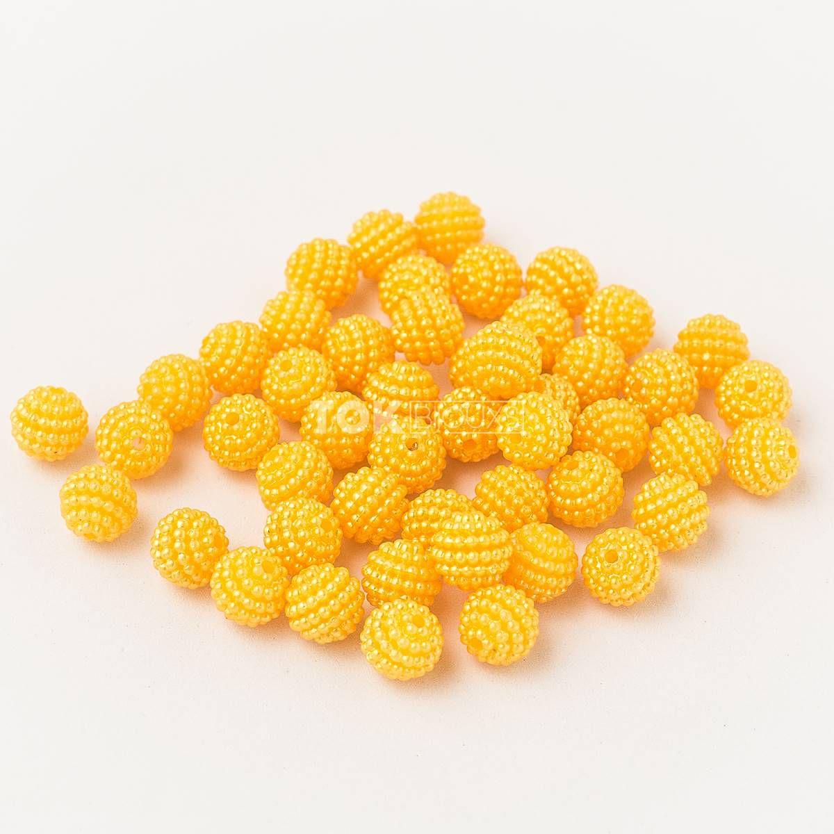 Atacado - Pérola Amora Craquelada Abs 10mm - Amarelo - 500g