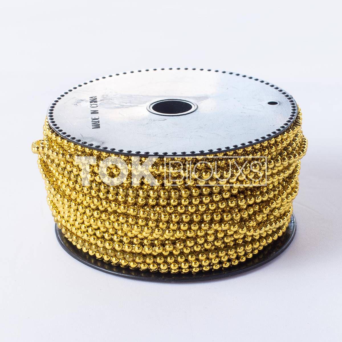 Atacado - Pérola Em Rolo 3mm Dourado - Rolo Fechado - 30 Metros