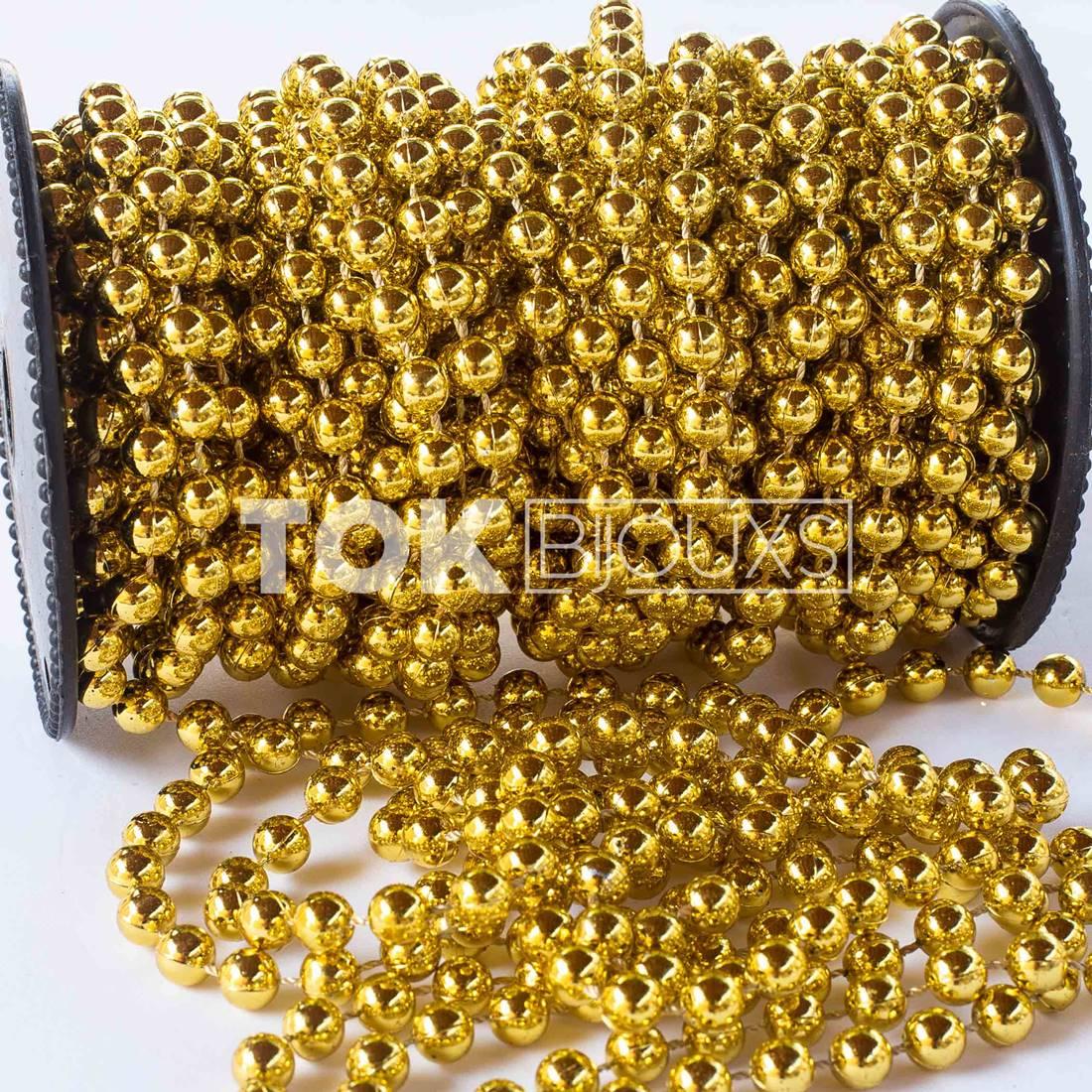 Atacado - Pérola Em Rolo 6mm Dourado - Rolo Fechado - 30 Metros