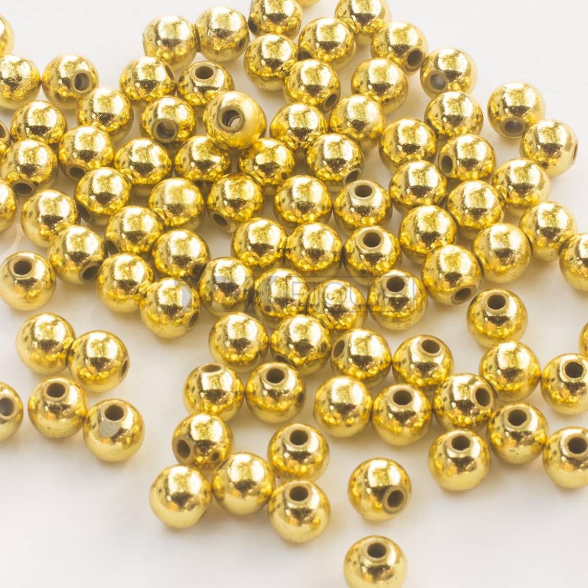 Pérola Redonda Abs 4mm - Dourado - 250g