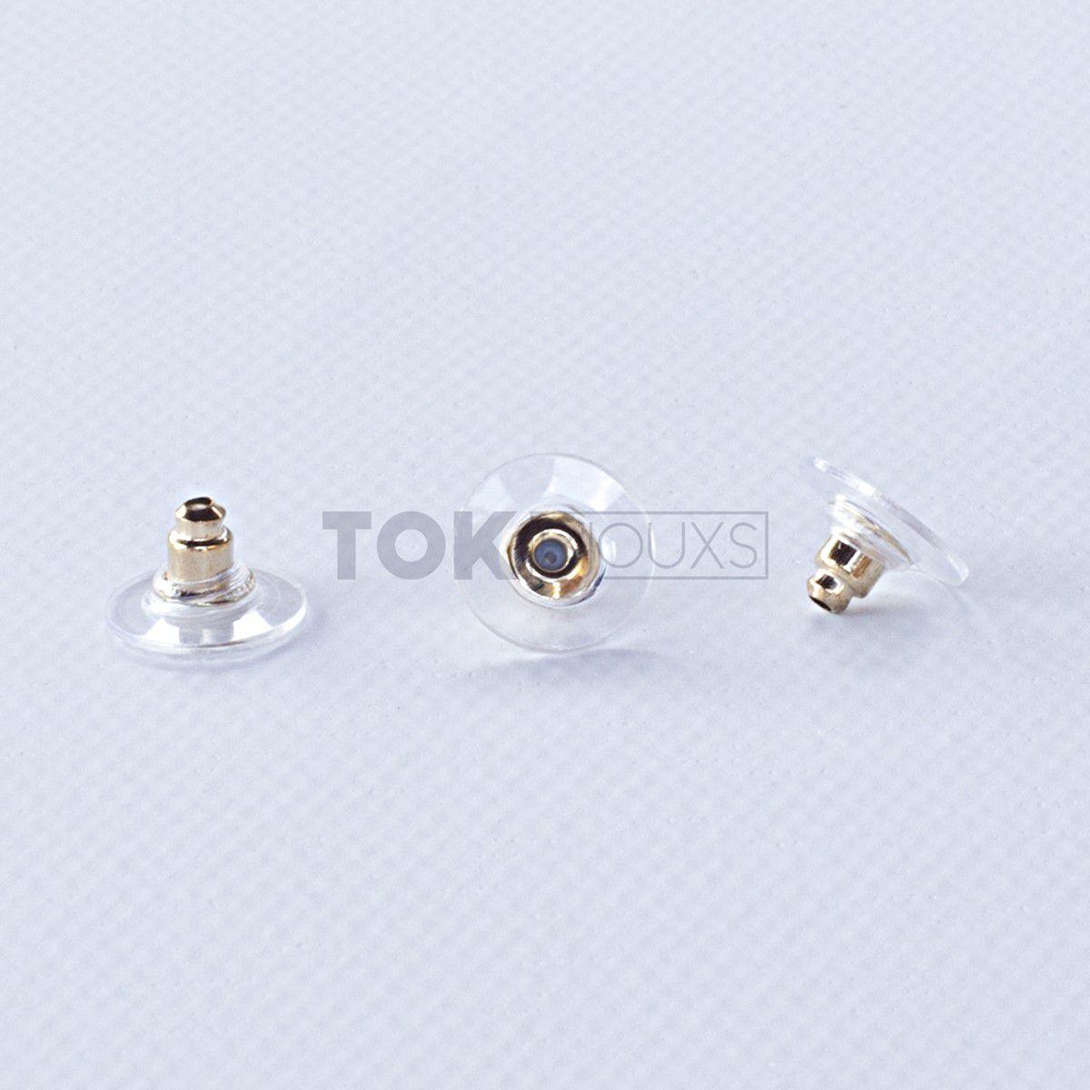 Tarracha Para Brinco - Silicone c/ Dourado - 1000 Un
