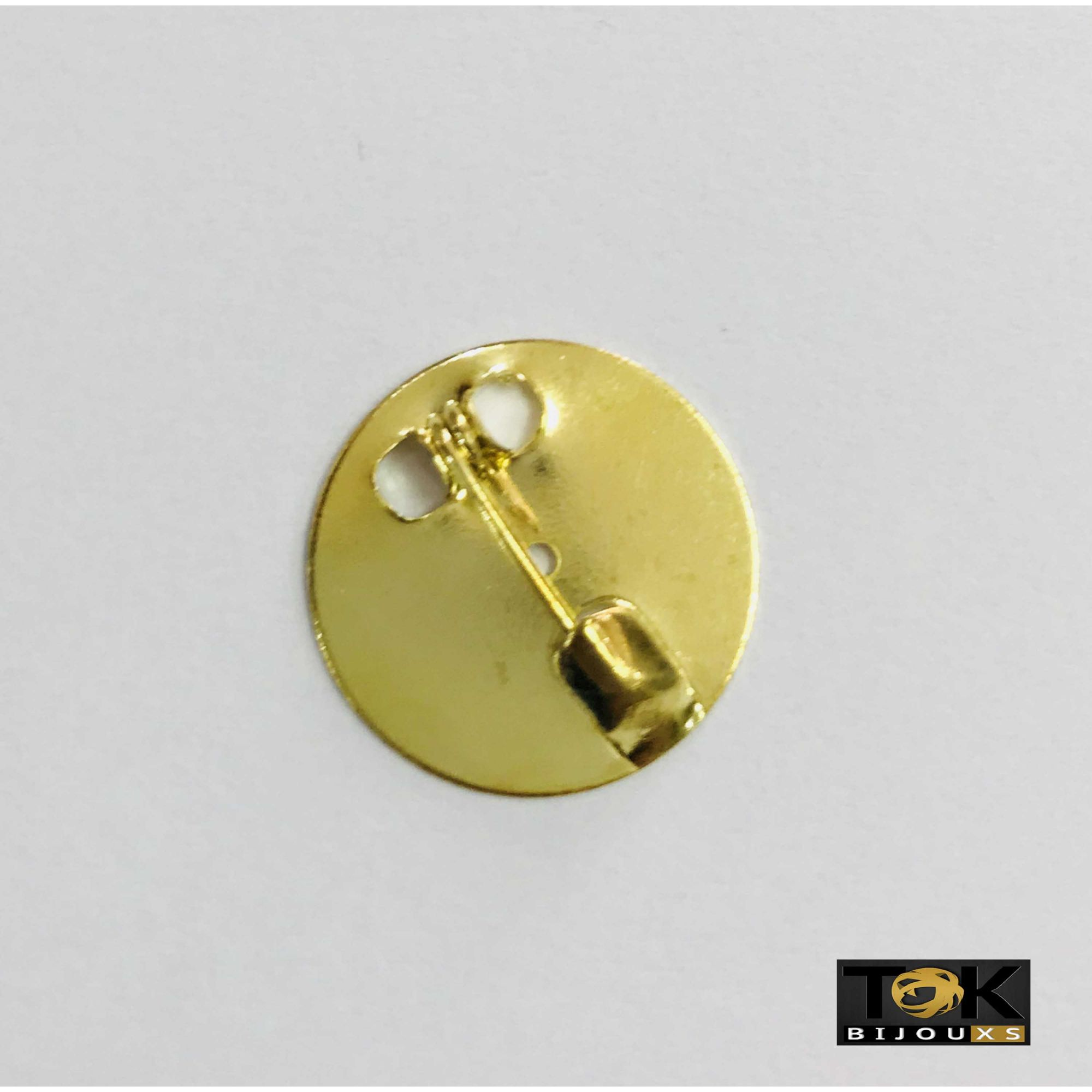 Base De Broche Redonda - Dourado - 25mm - 25 Unid