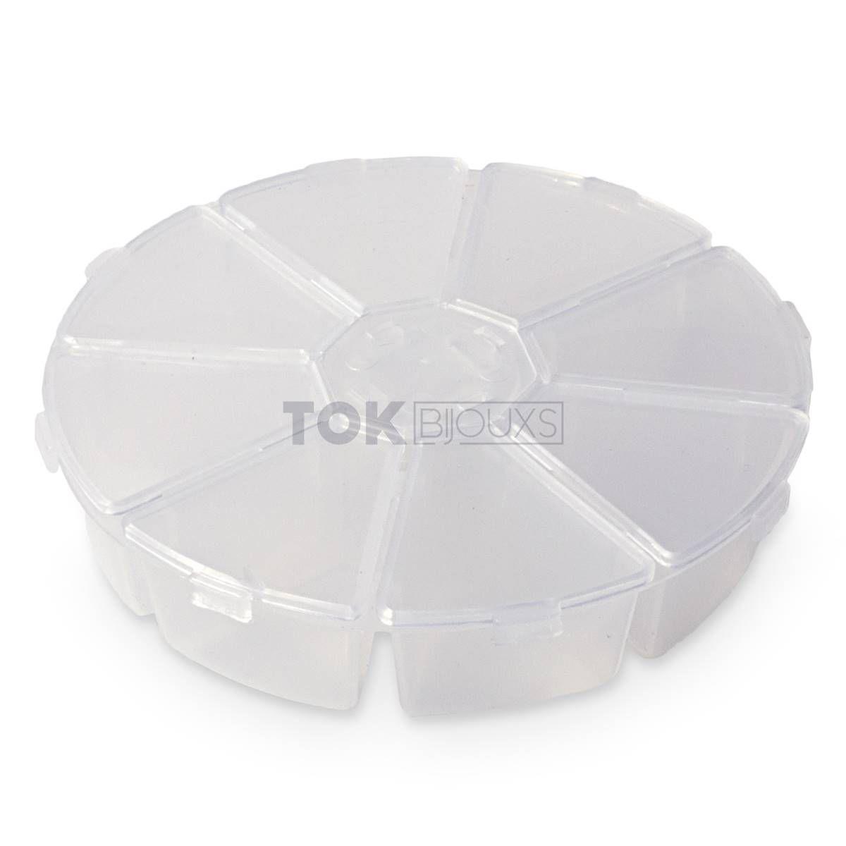 Caixa Organizadora Acrílico Redonda - 8 Divisórias - 12cm - Transp