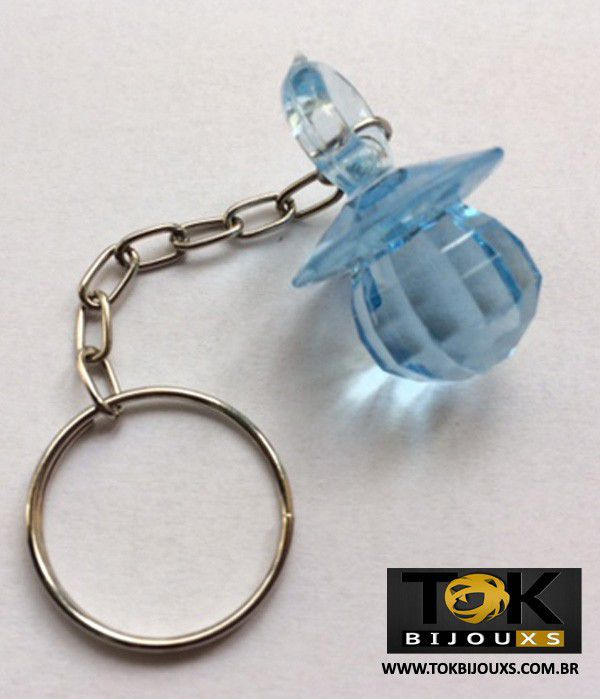 Chaveiro Chupeta Acrílica - Azul Bebe - 1  Unid