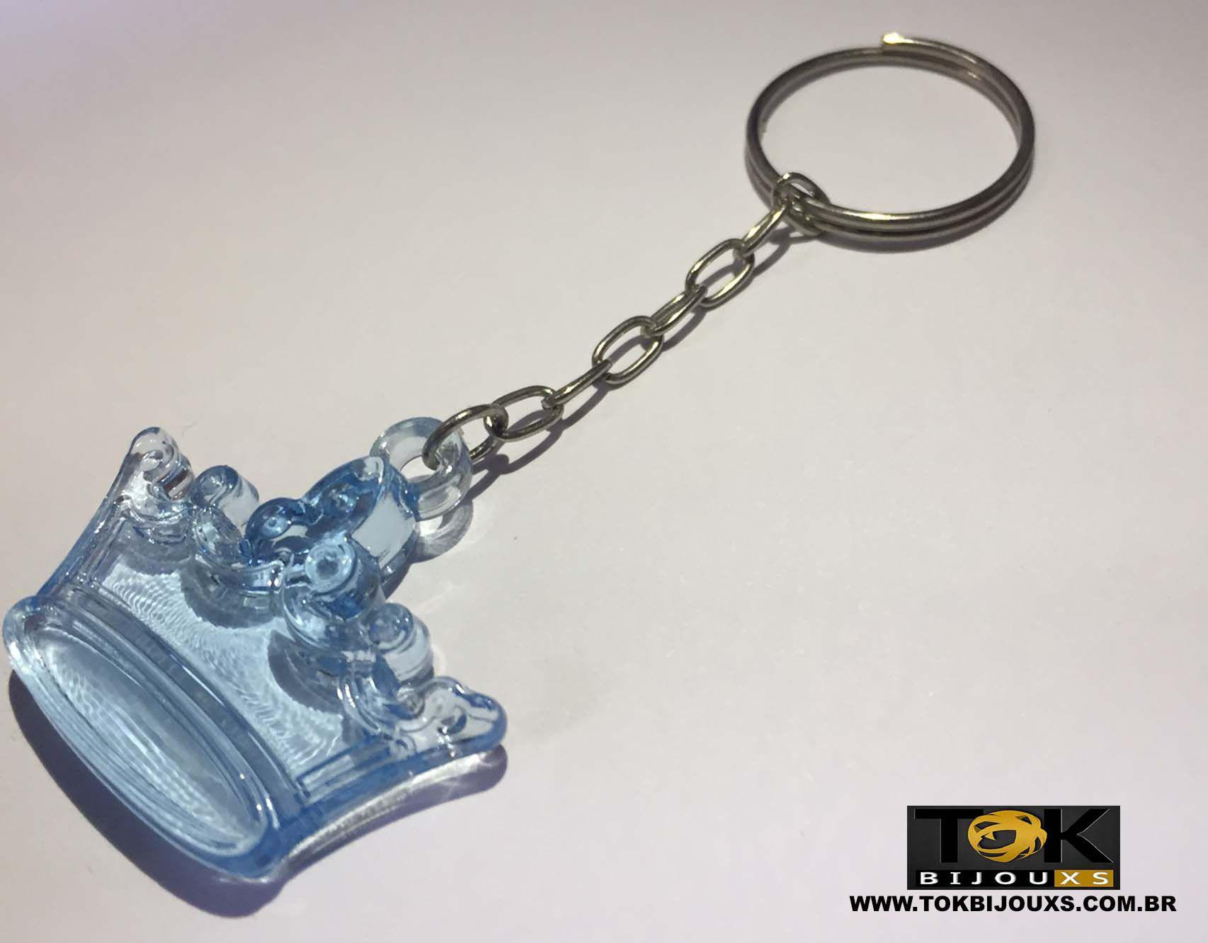 Chaveiro Coroa Acrílico - Azul Bebe - 1  Unid