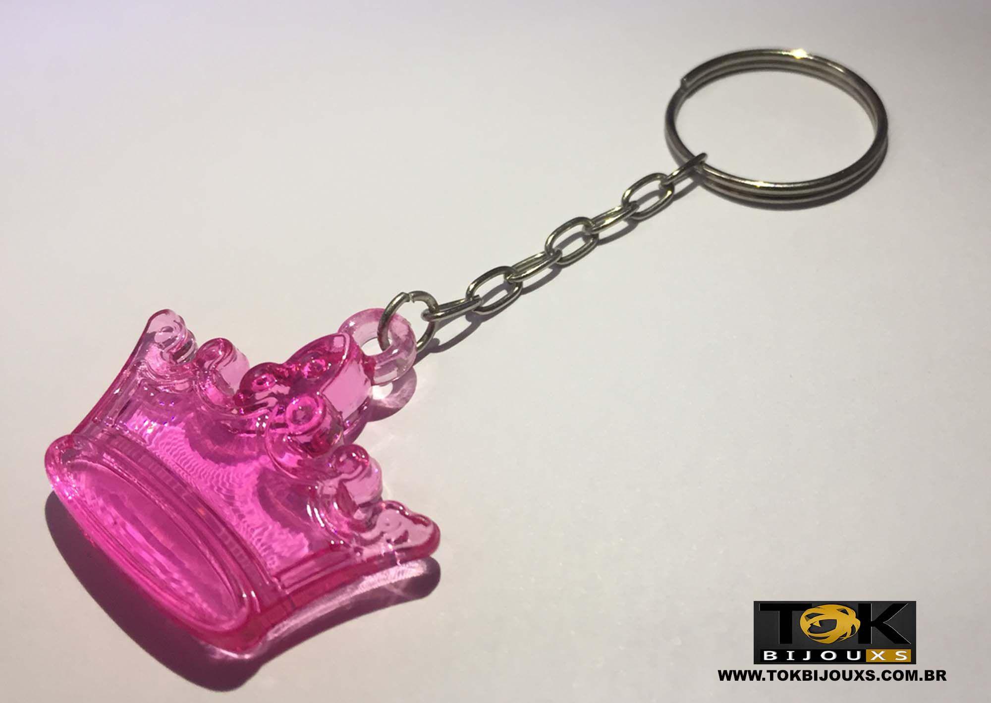 Chaveiro Coroa Acrílico - Pink - 1  Unid