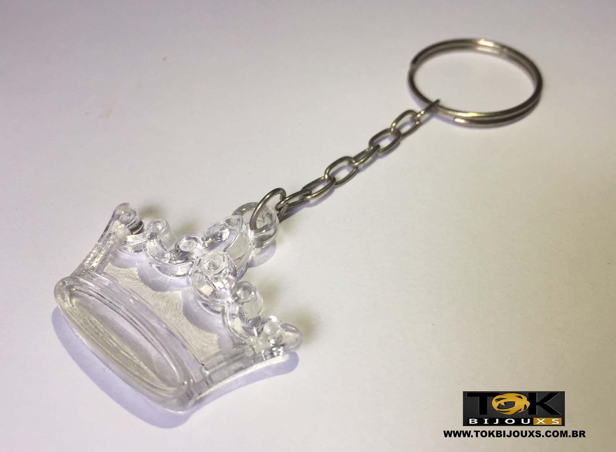Chaveiro Coroa Acrílico - Transparente - 1  Unid