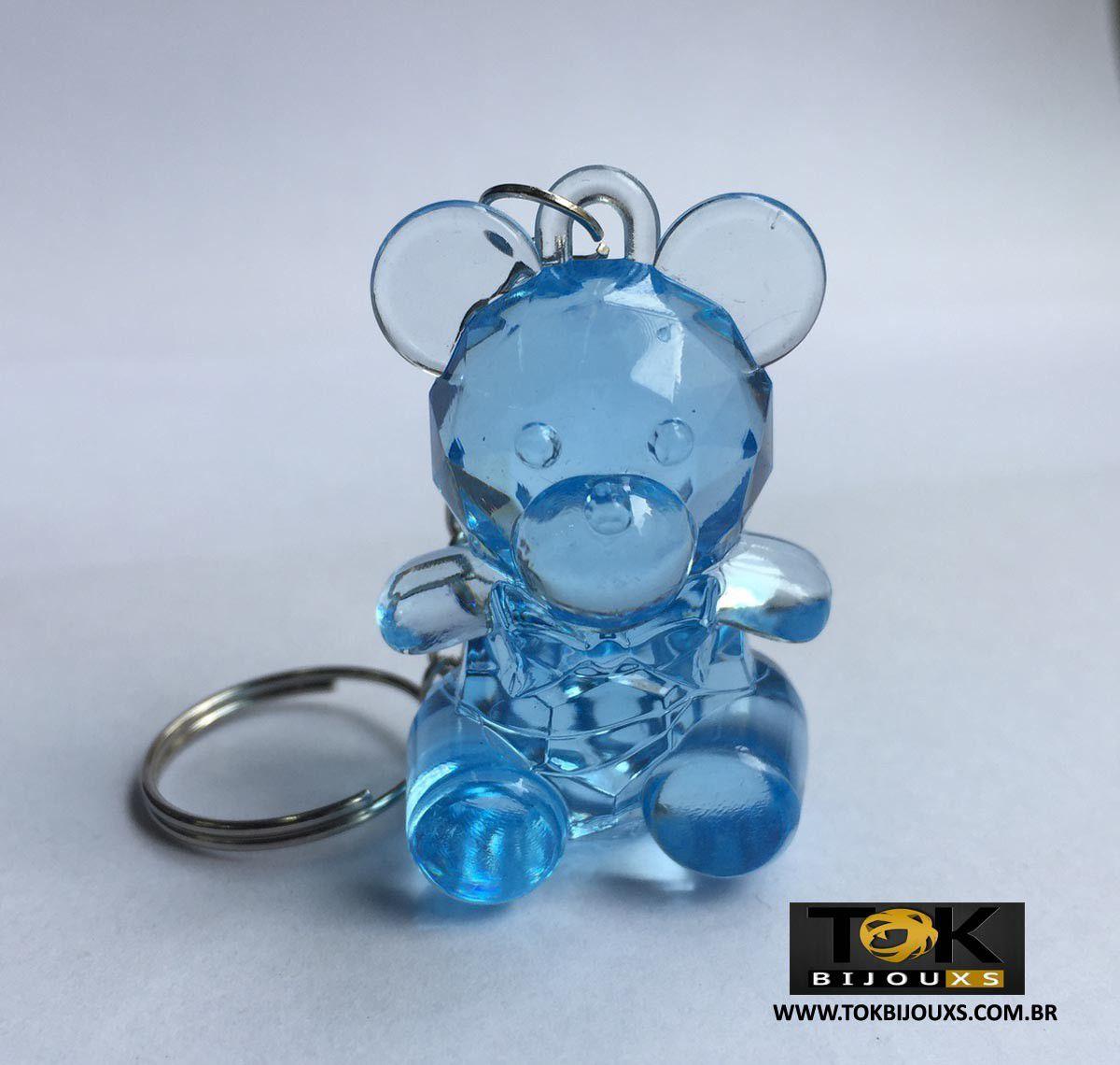 Chaveiro Ursinho Acrílico - Azul Bebe - 1  Unid