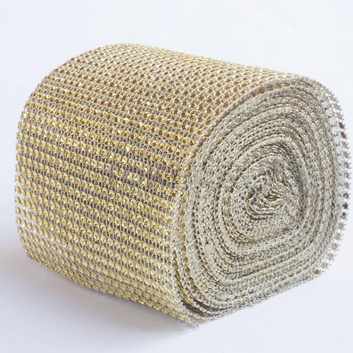 Manta Strass Acrílico - Dourado - 10cm x 1 Metro