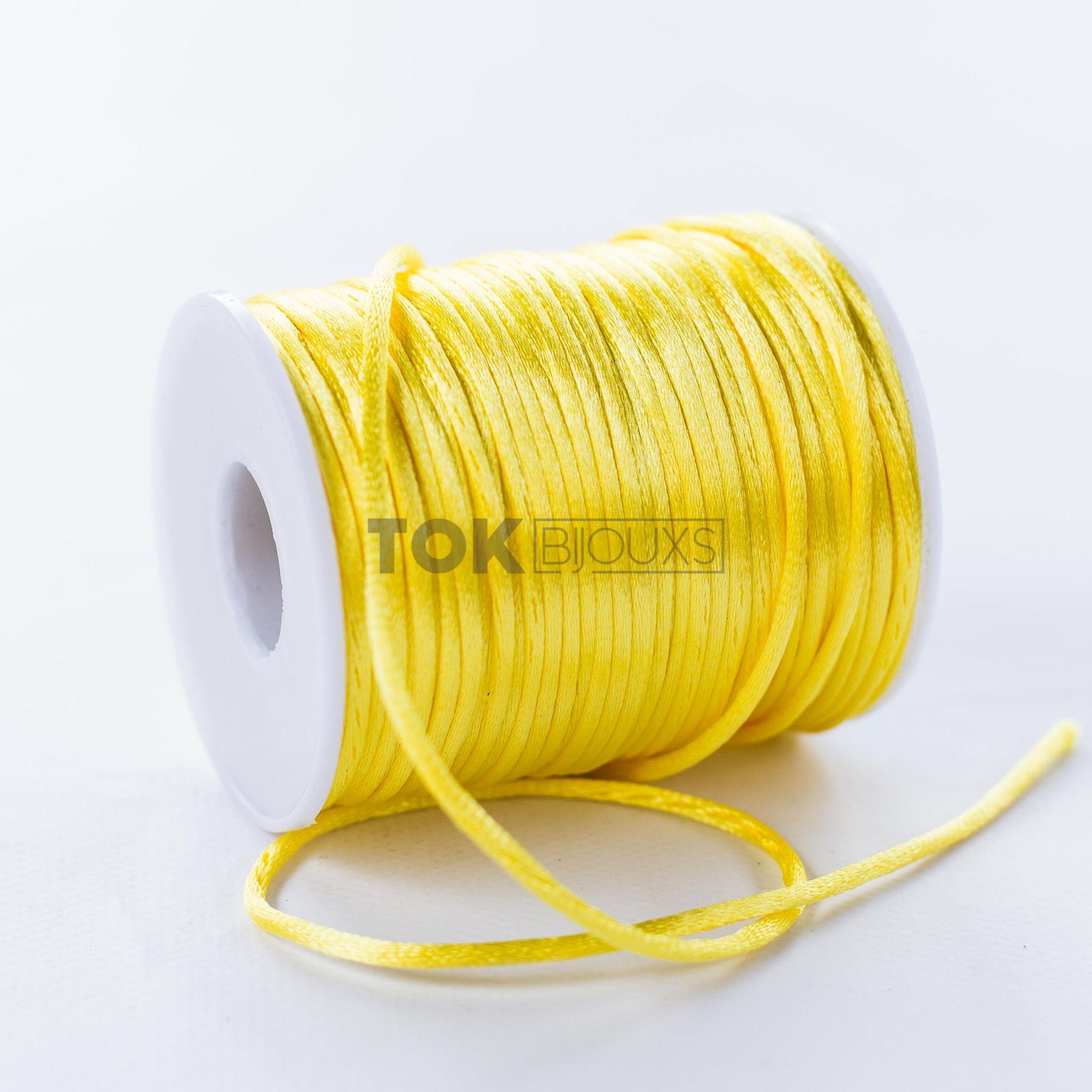 Cordão Cetim 2mm - 50 Metros - Amarelo Claro