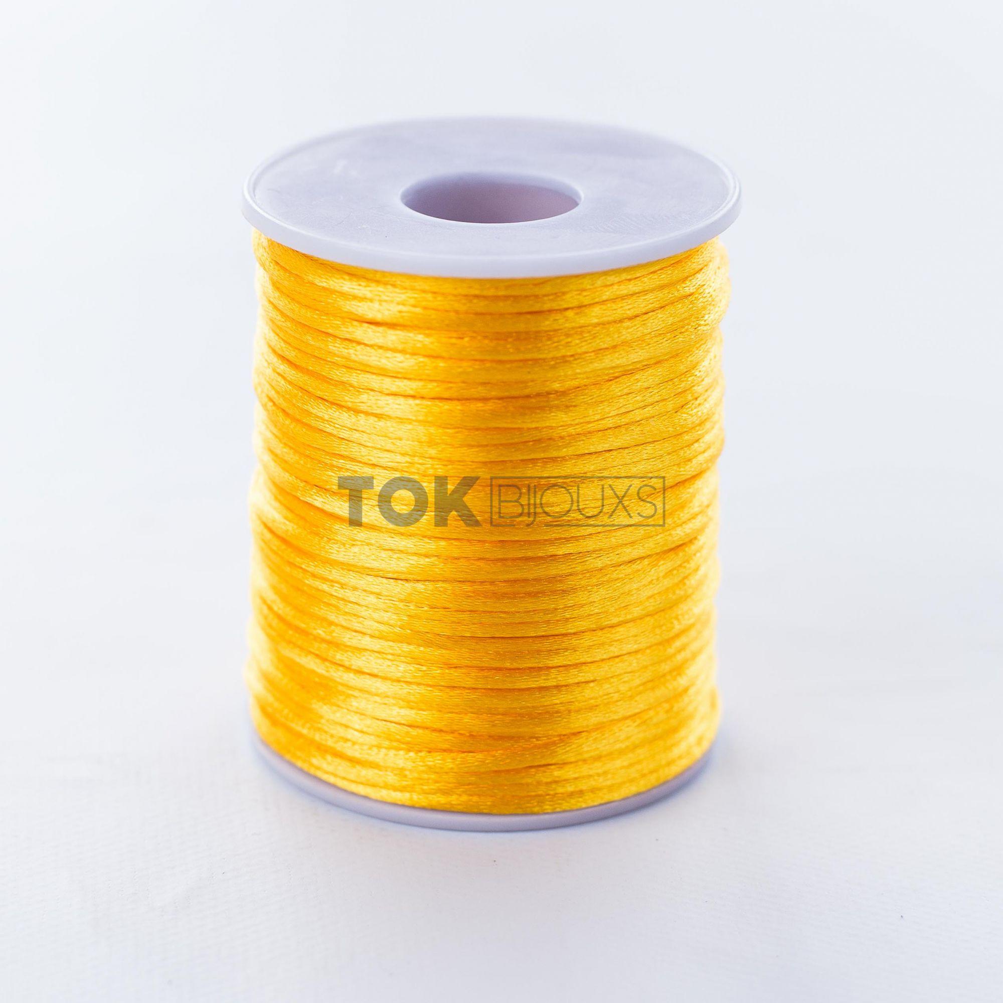 Cordão Cetim 2mm -  50 Metros - Amarelo Ouro