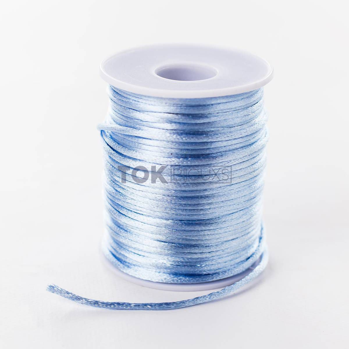 Cordão Cetim 2mm - 50 Metros - Azul Bebe