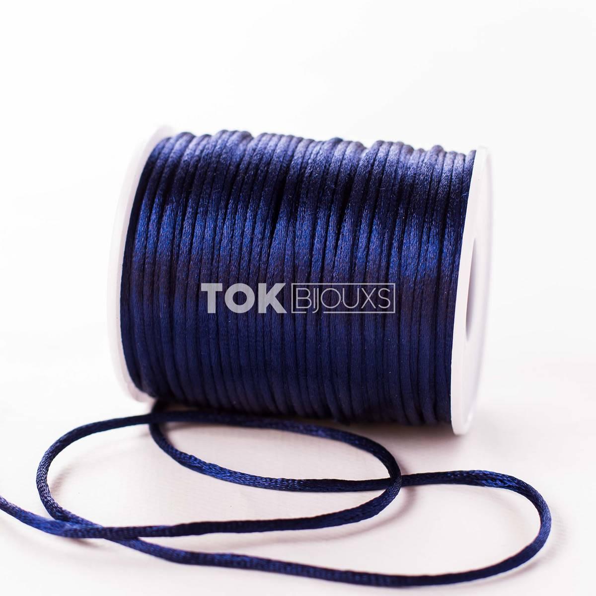 Cordão Cetim 2mm - 50 Metros - Azul Marinho
