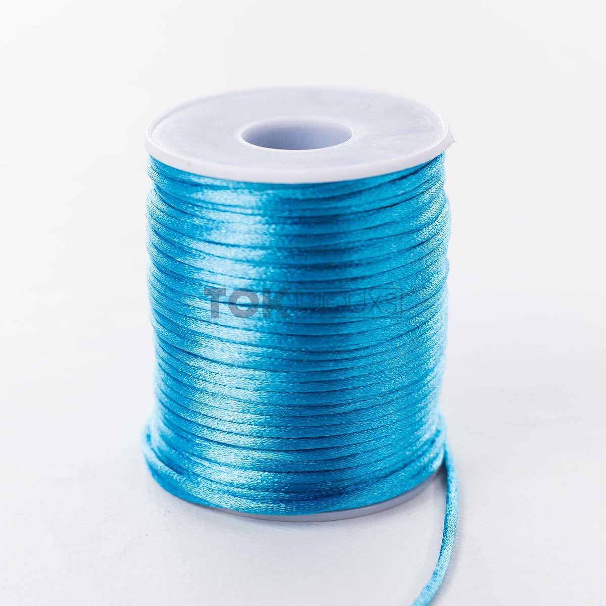 Cordão Cetim 2mm - 50 Metros - Azul Turquesa