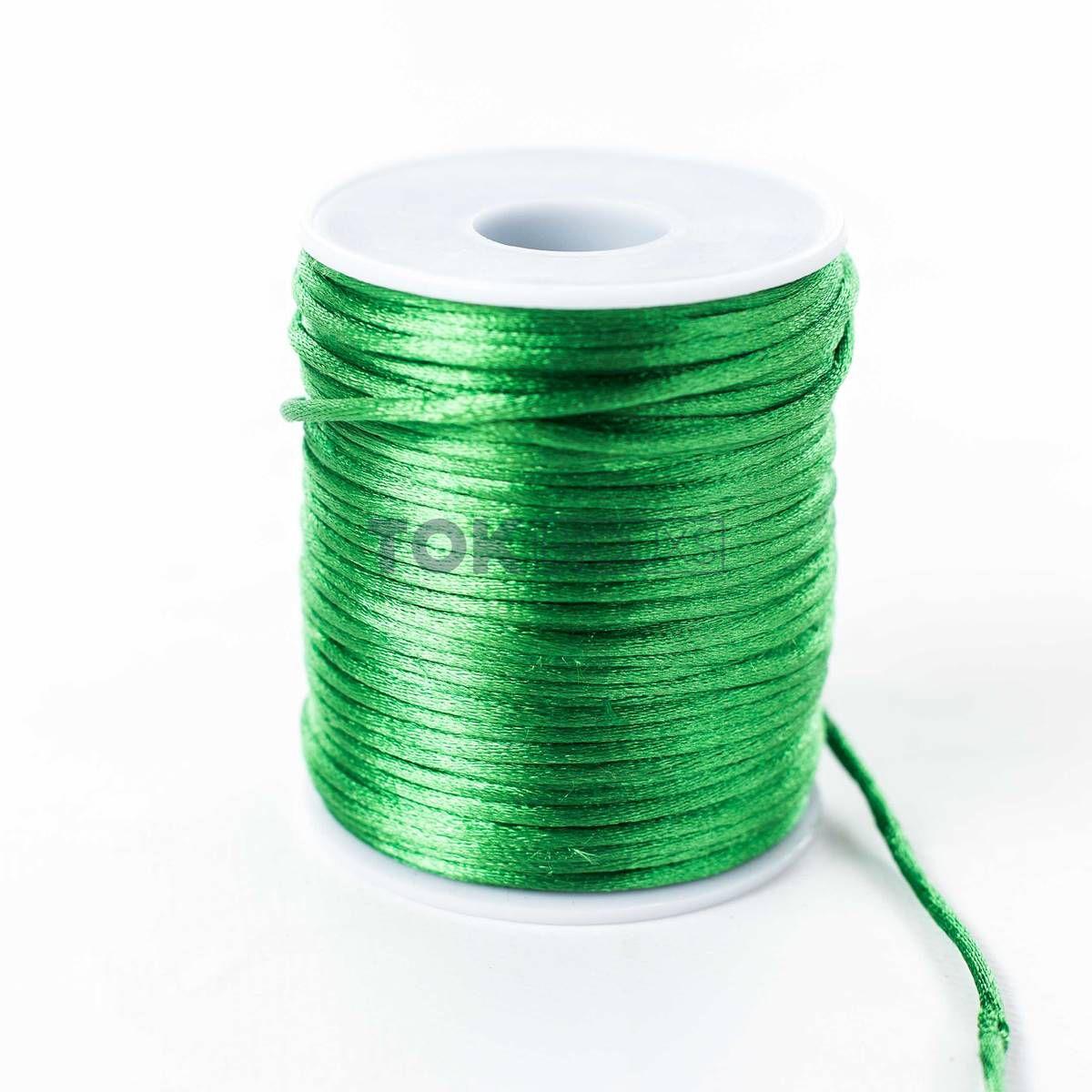 Cordão Cetim 2mm - 50 Metros - Verde Bandeira