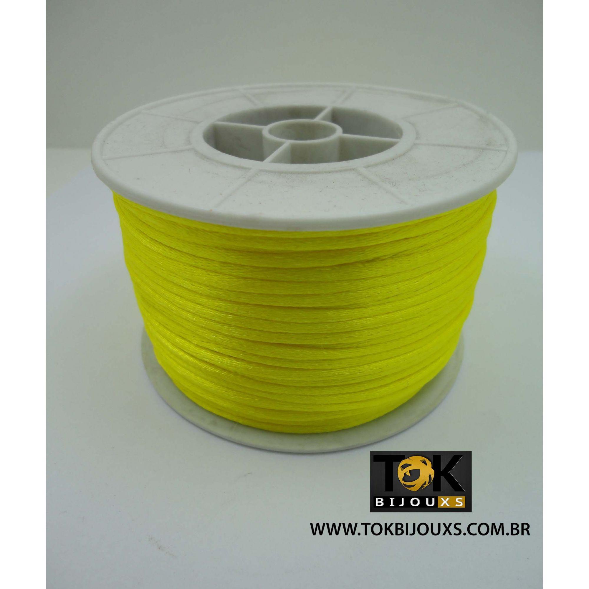 Cordão De Seda Acetinado - Rolo 50 Metros - Amarelo Claro
