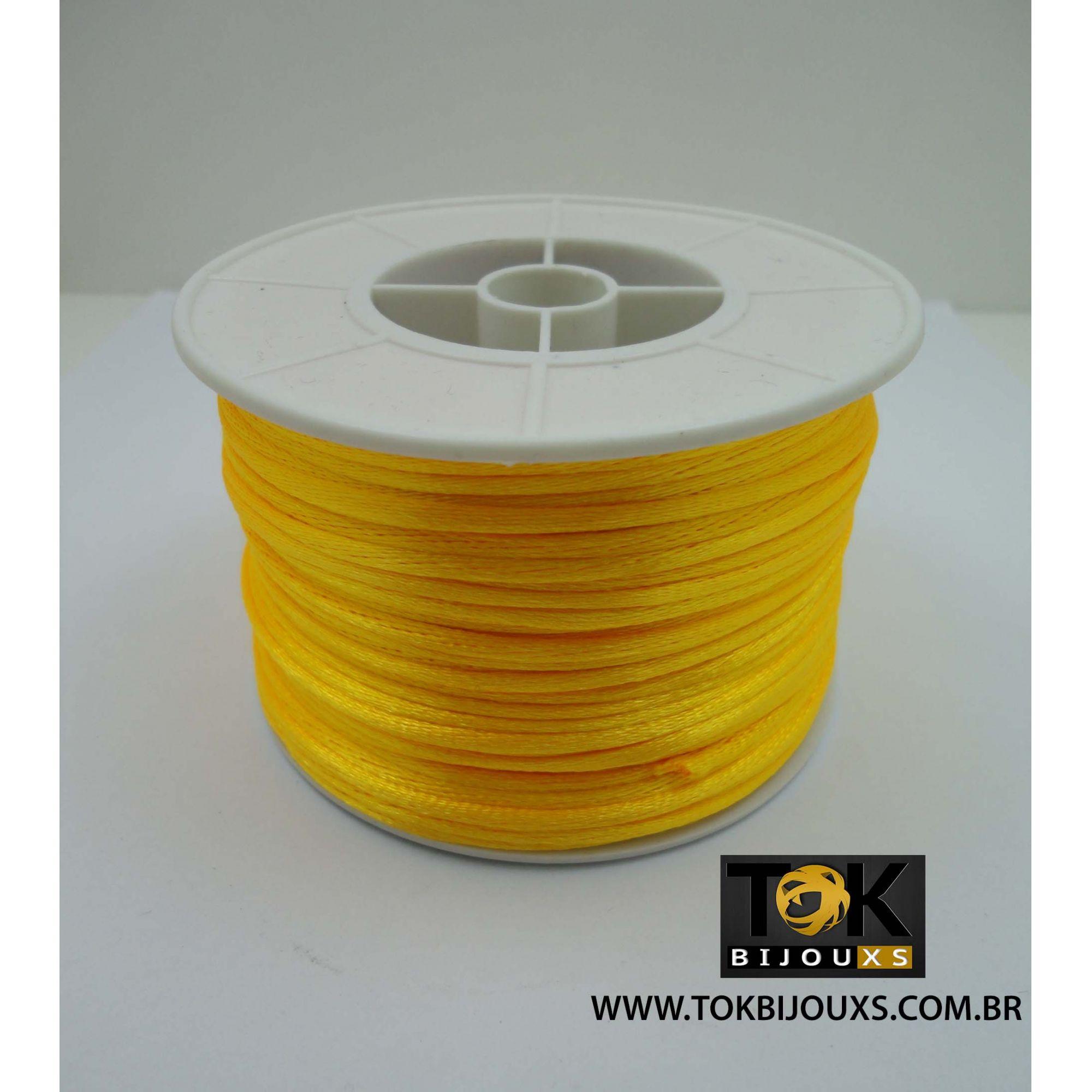 Cordão De Seda Acetinado - Rolo 50 Metros - Amarelo Ouro