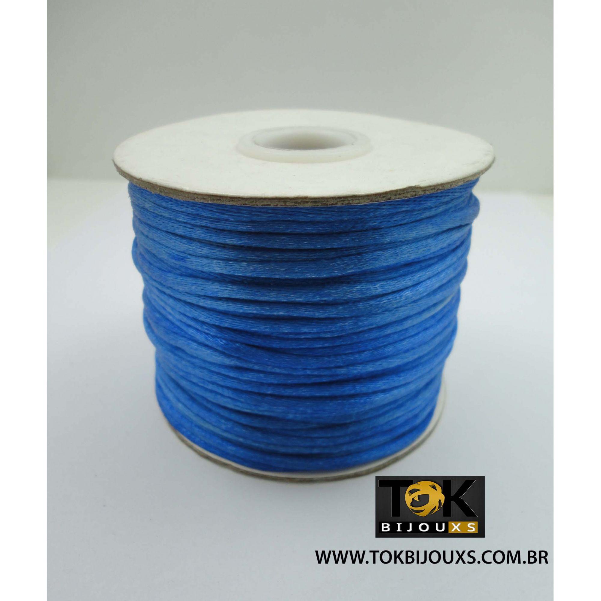 Cordão De Seda Acetinado - Rolo 50 Metros - Azul Royal