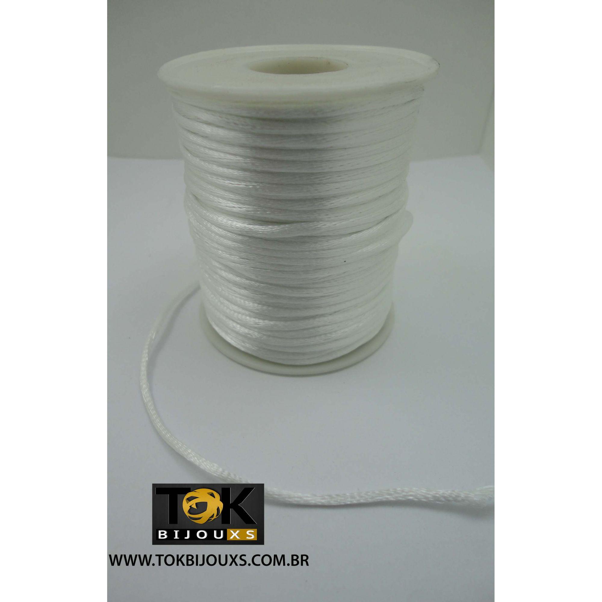 Cordão De Seda Acetinado - Rolo 50 Metros - Branco