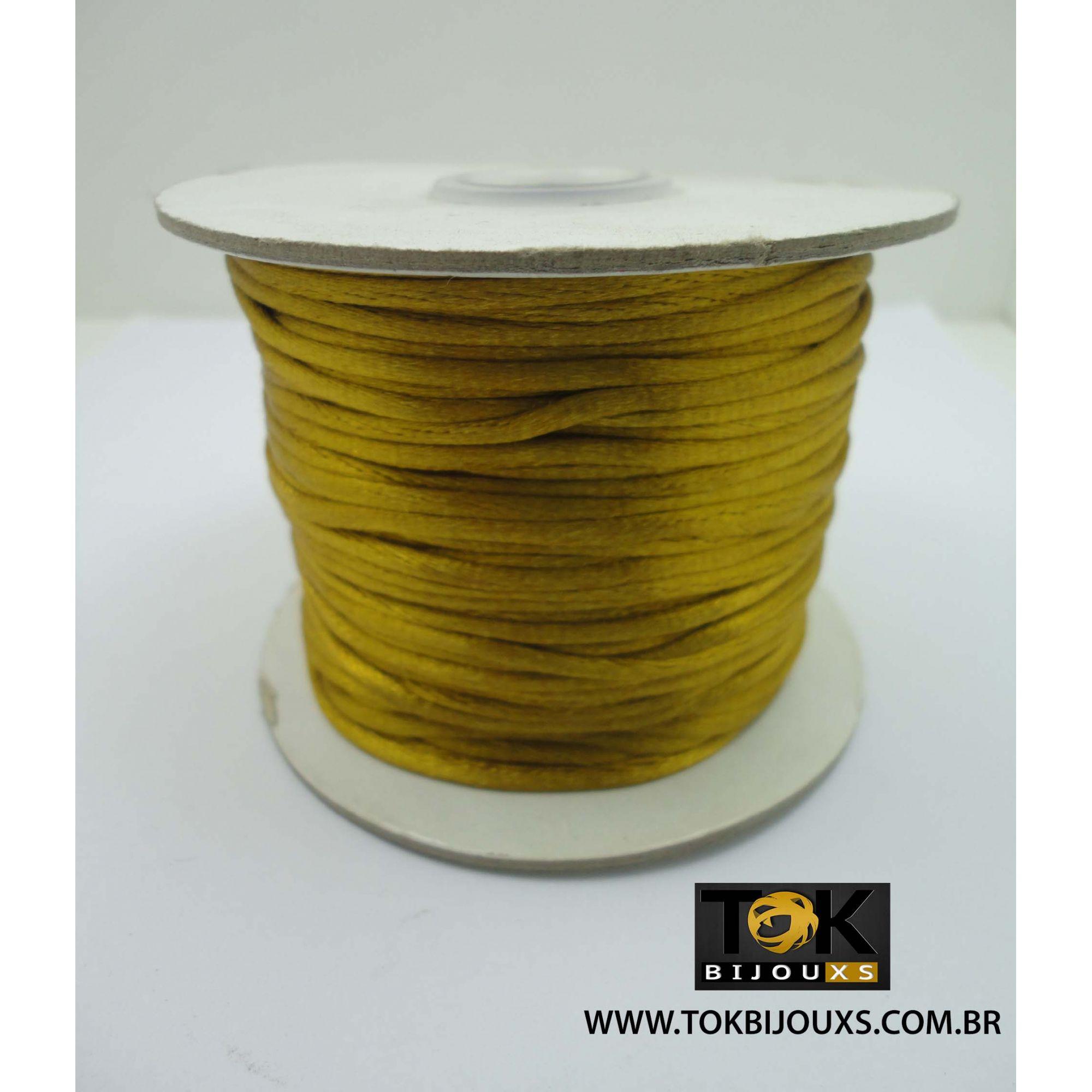 Cordão De Seda Acetinado - Rolo 50 Metros - Dourado