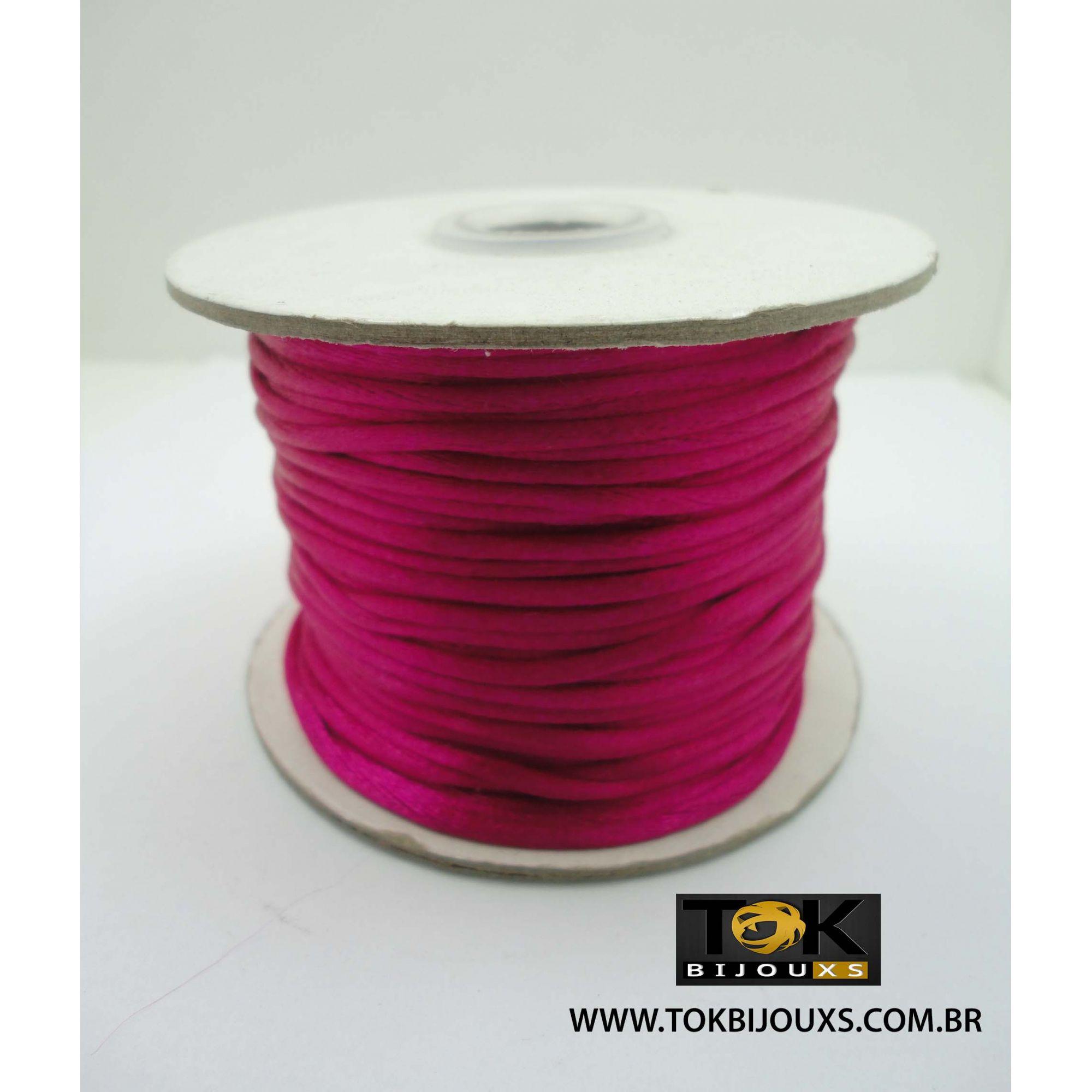 Cordão De Seda Acetinado - Rolo 50 Metros - Pink