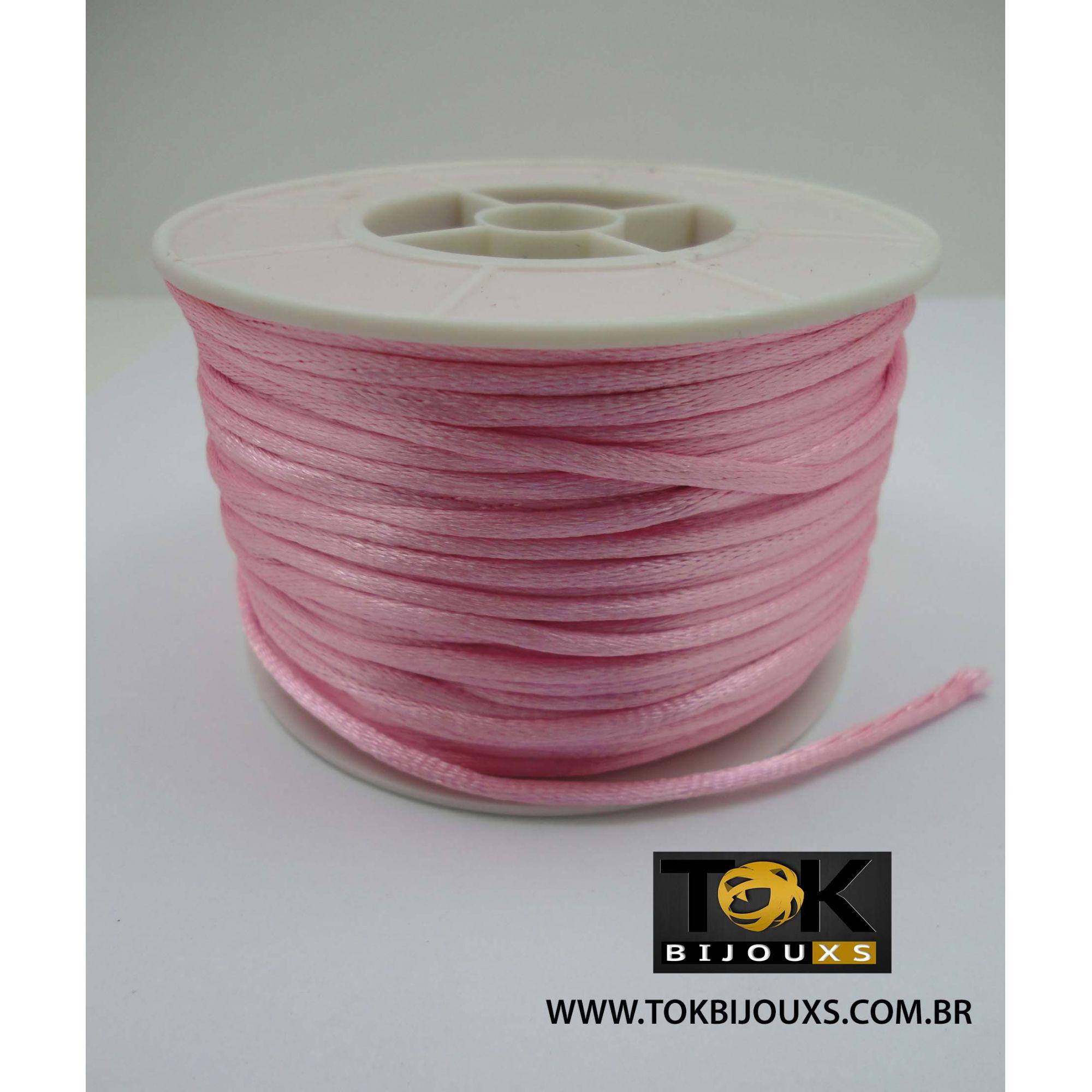 Cordão De Seda Acetinado - Rolo 50 Metros - Rosa Bebe